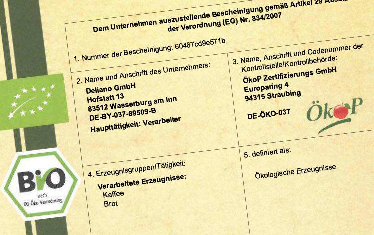 Deliano Wasserburg Bio Zertifizierung